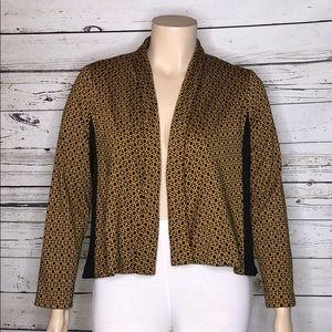 NY Collection XL Gold & Black Printed Knit Jacket